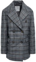 Brunello Cucinelli Double-breasted Metallic Checked Wool-blend Down Coat