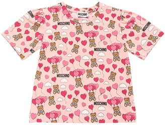 Moschino All Over Print Cotton Jersey T-shirt