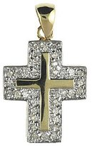 "Direct-Jewelry 14K Yellow Gold Diamond Cross Pendant with 18"" Chain"
