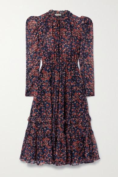 Ulla Johnson Beatrice Floral-print Fil Coupe Silk And Lurex-blend Dress - Purple