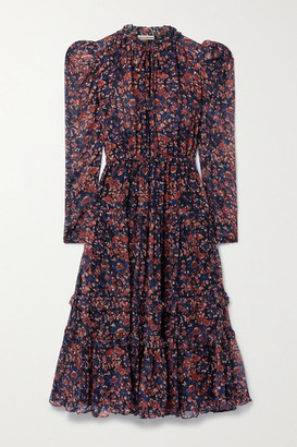 Ulla Johnson Beatrice Floral-print Fil Coupe Silk And Lurex-blend Dress - Purple