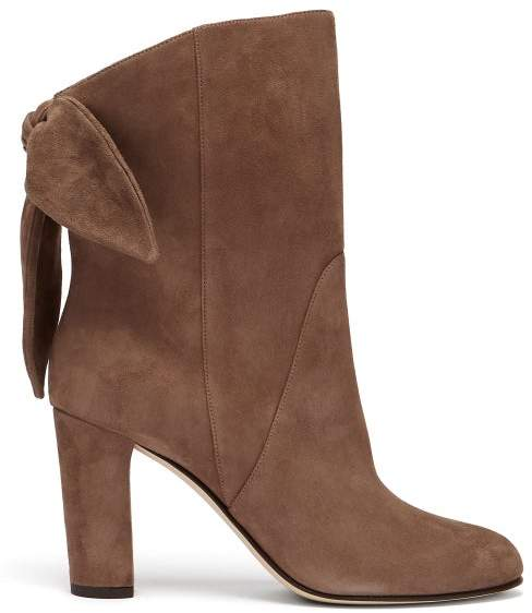 Jimmy Choo Marlene 85 Suede Ankle Boots - Womens - Light Brown