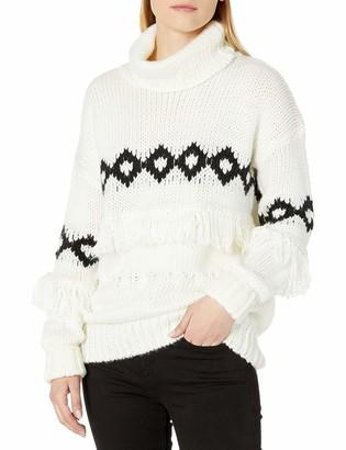 MinkPink Women's Fringe Festive Turtleneck Sweater