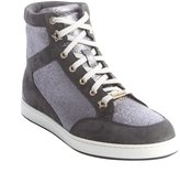 Jimmy Choo Smoky Grey Glittere Suede Trimmed Lace Up Sneakers