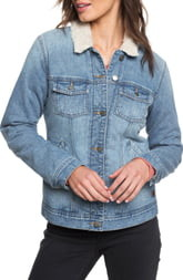 Roxy Sandy Faux Shearling Lined Denim Jacket