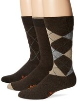 Dockers 3 Pack Classics Metro Argyle Crew Socks, Brown, 10-13 Sock/6-12 Shoe