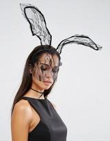 Johnny Loves Rosie Halloween Darcey Lace Bunny Veil Headband