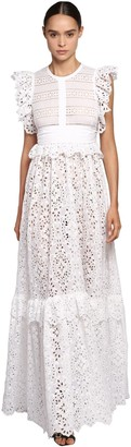 Elie Saab Lace & Poplin Long Dress W/ Ruffles