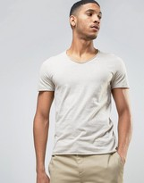 Selected Scoop Neck T-Shirt with Raw Hem