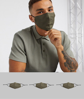 ASOS DESIGN 3 pack face covering with adjustable straps and nose clip in khaki