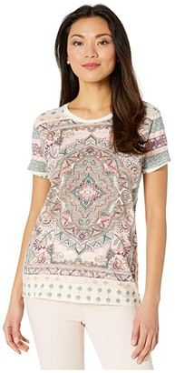 Lucky Brand Short Sleeve Crew Neck All Over Floral Paisley Tee (Lucky White) Women's Clothing
