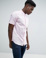 French Connection Short Sleeve Shirt in Regular Fit Linen Mix
