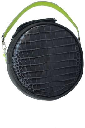 Kartu Studio Natural Leather Cross Body Bag Clutch Muscat - Dark Grey Reptile Neon Detail
