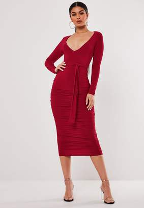 Missguided Stassie X Red Slinky Belted Plunge Midi Dress