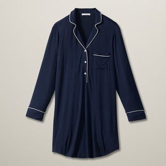 Love & Lore Love And Lore Piped Henley Sleep Shirt Navy Small