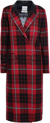 Each X Other Double-breasted Leather-trimmed Checked Wool Coat