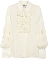 Haute Hippie Ruffled silk-chiffon blouse