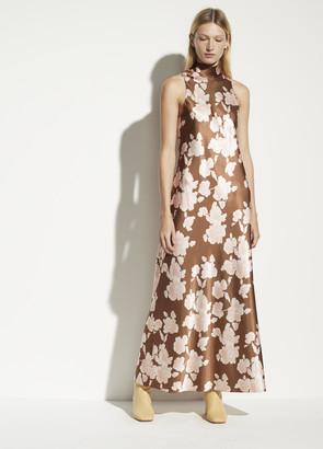 Vince Tapestry Floral Turtleneck Dress