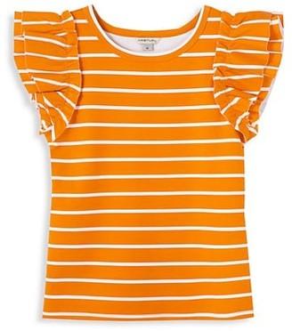 Habitual Girl's Ruffle Sleeve Striped Top