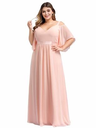 Ever Pretty Ever-Pretty Women's Elegant A Line Cold Shoulder Shoulder Sleeve Floor Length Chiffon Plus Size Evening Party Dresses Pink 24UK