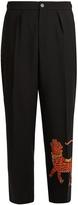 Gucci Tiger-appliqué wide-leg wool-blend trousers