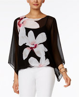 Alfani Petite Printed Angel-Sleeve Bubble Top, Only At Macy's