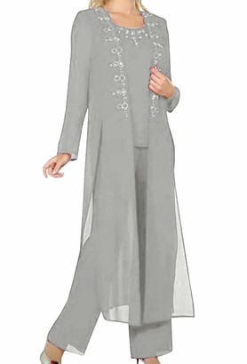 Solovedress Women's 3 Piece Chiffon Elegant Mother of Groom Bride Dress Pant Suits with Jacket for Wedding (Silver Grey UK12)