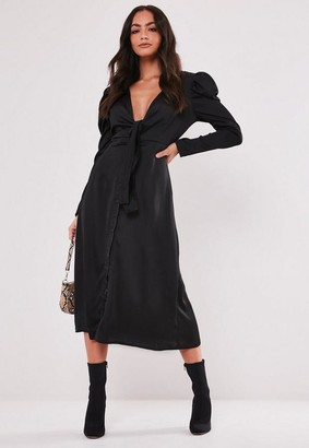 Missguided Black Tie Front Puff Sleeve Midi Dress