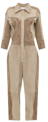 Raey Patchwork Suede Jumpsuit - Womens - Grey Multi