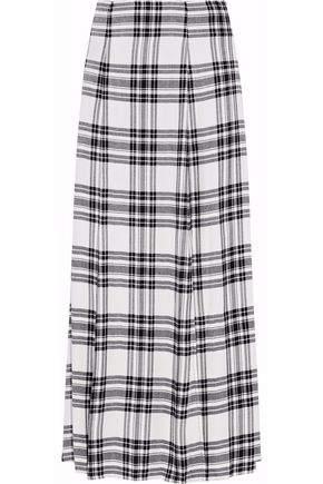 Alice + Olivia Athena Checked Twill Maxi Skirt