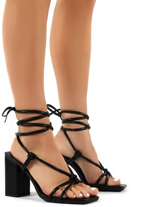 Public Desire Uk Lois PU Strappy Lace Up Block Heel