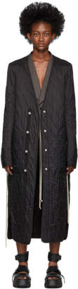 Rick Owens Black Long Quilted Liner Coat