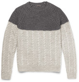 Barena - Two-tone Waffle And Cable-knit Wool-blend Sweater