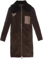Moncler Gamme Rouge Contrast shearling collar faux-fur coat