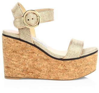 Jimmy Choo Abigail Metallic Raffia Cork Wedge Sandals