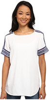MICHAEL Michael Kors Woven Tee Shirt with Embellishment