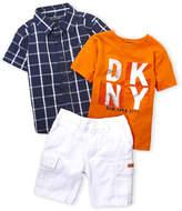 DKNY Toddler Boys) 3-Piece Check Shirt & Denim Cargo Shorts Set