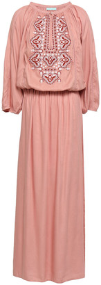 Melissa Odabash Sienna Lace-up Embroidered Jersey Maxi Dress