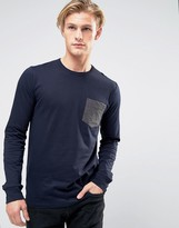 French Connection Long Sleeve T-Shirt with Contrast Pocket