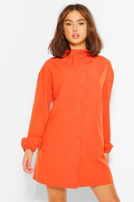 boohoo Cotton Mix Ruffle Neck Shirt Dress