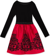 Rare Editions Velvet Flocked Party Dress, Toddler Girls (2T-5T) and Little Girls (4-6X), Created for Macy's