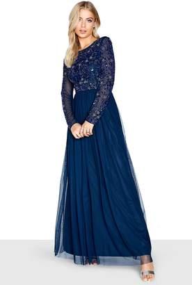 Little Mistress Hartly Navy Sequin Embellished Maxi Dress