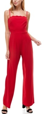 Trixxi Juniors' Scalloped-Neck Jumpsuit