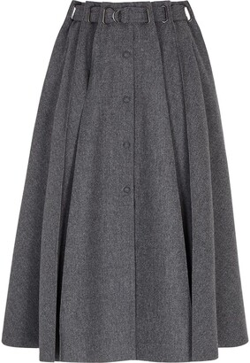 Fendi pleated A-line skirt