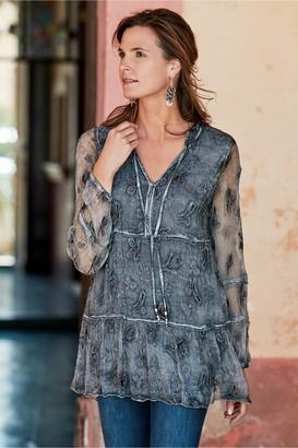 Soft Surroundings Women Aurora Embroidered Silk Tunic