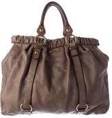 Miu Miu Pleated Leather Tote