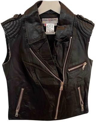 Charles Anastase Black Leather Leather Jacket for Women