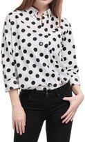 Allegra K Women Long Sleeves Button Front Polka Dot Cotton Tunic Shirt S