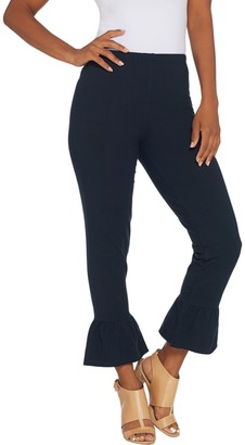 Women With Control Petite Ankle Pants with Ruffle Bottom