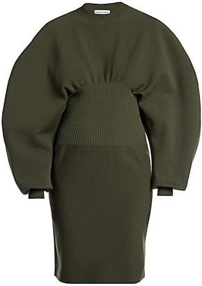 Bottega Veneta Puff Sleeve Compact Stretch Wool Dress
